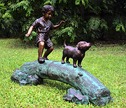 Boy Following Dog Across Log